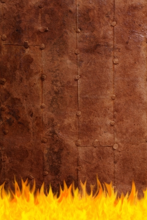 arson: grunge rusty surface on fire