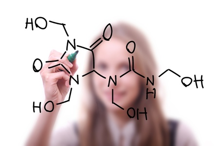 chemist shows a molecular structure photo