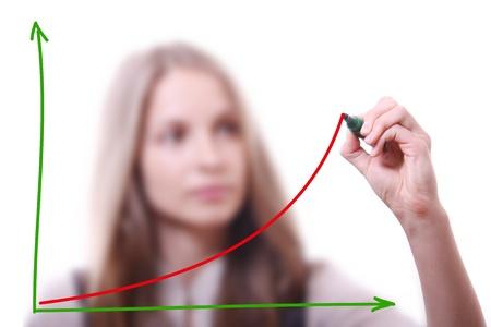Empresaria dibujo gr�fico de crecimiento