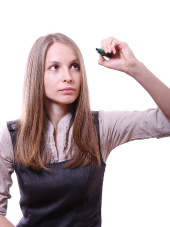 young woman with pen Stock Photo - 13990723