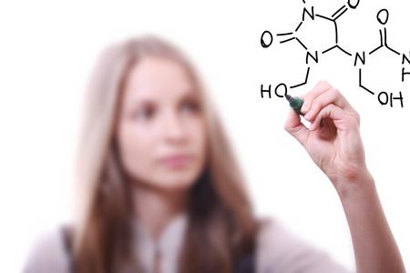 chemist shows a molecular structure photo