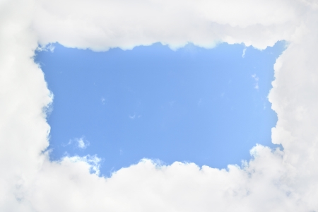 Cloudy frame, blue sky photo