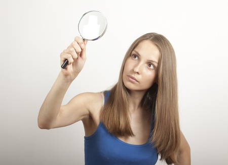Woman with Magnifying Glass Stock Photo - 14285912