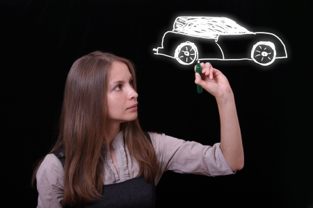 woman drawing car Stock Photo - 14430867