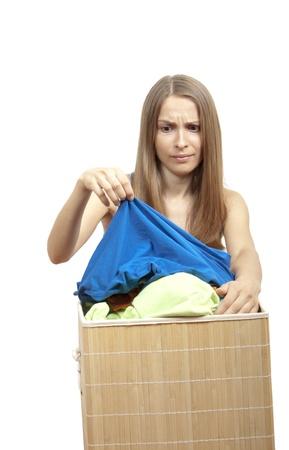 woman wth laundry photo