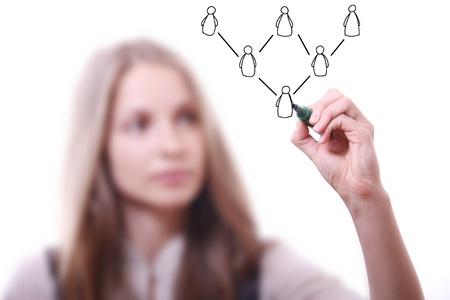 Mujer dibujo concepto de red social