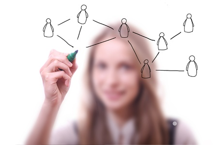 Woman drawing Social Network Concept photo