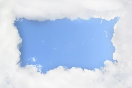 Cloudy frame, blue sky