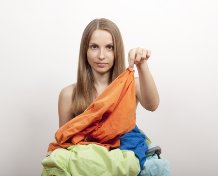 woman wth laundry photo