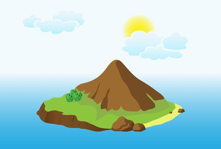 hill distant: Island with mountain Illustration