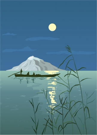 moonlit: Night Seascape with Boat Illustration