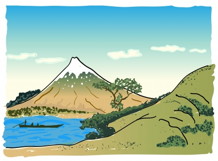 lake of the woods: Japanese landscape, vector illustration