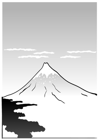 Mountain Fuji, japanese art illustration Vector