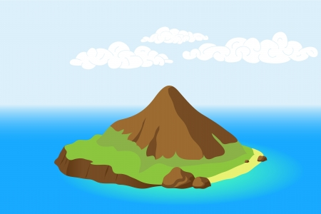 Island with mountain Vector