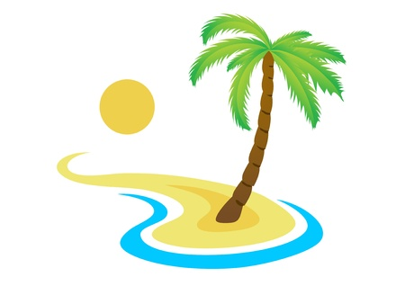 Palma tropical en la isla con vistas al mar Vectores