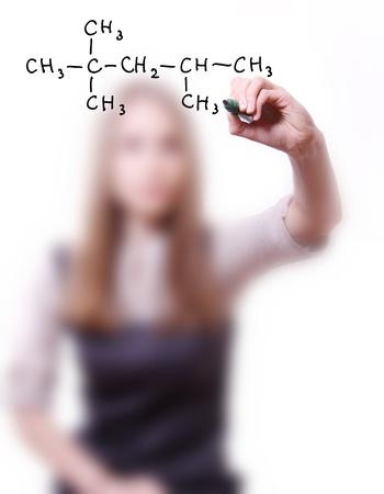 chemist shows a molecular structure