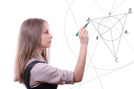 woman draws geometric shapes Stock Photo - 15754304
