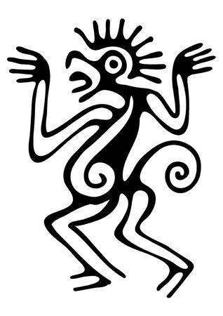 sacrificio: ilustraci�n en estilo maya
