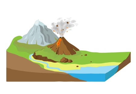 Tierra rebanada con el paisaje Vectores