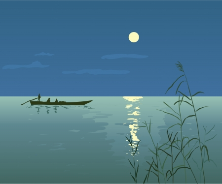 Night Seascape with Boat Vector