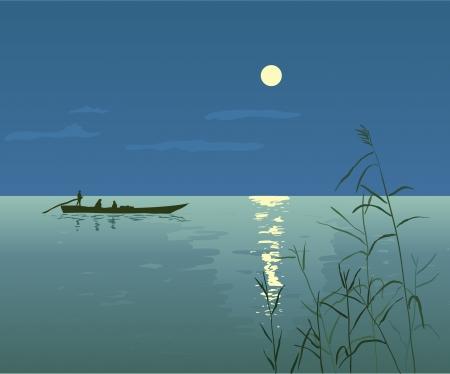 Noche Paisaje marino con el barco