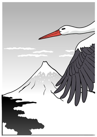Mountain Fuji with stork, vector illustration Vector