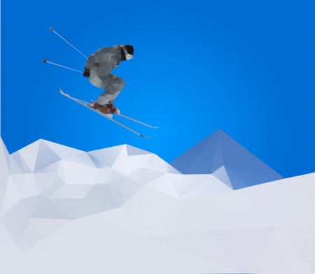 flying skier on mountains Stock Vector - 16016881