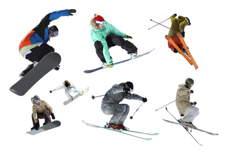 Esquiadores y snowboarders aislados Foto de archivo