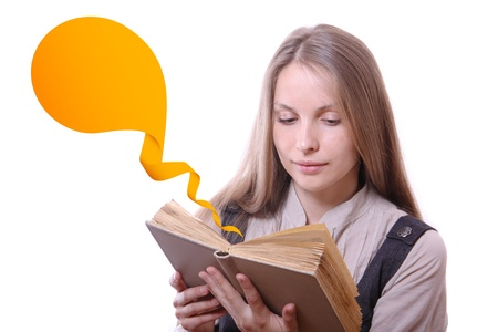 aphorism: Woman reading a book, isolated Stock Photo