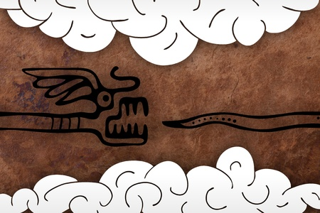 old paper background with snake and clouds photo
