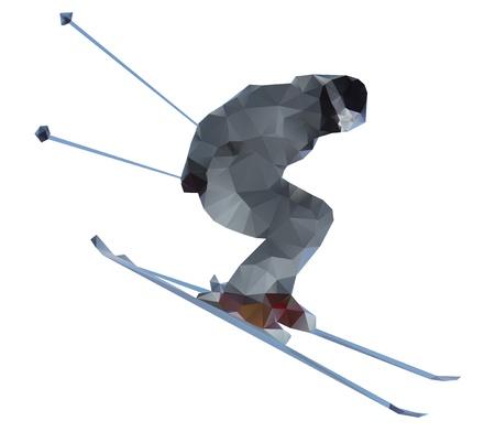 스키어는 흰색 배경에 고립 일러스트