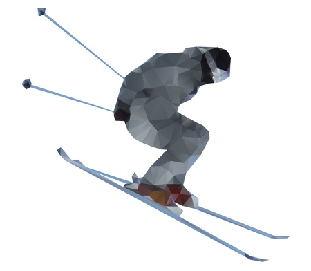 Skier isolated on a white background