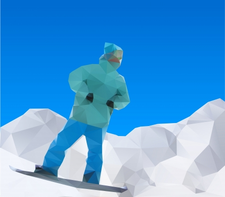 coordination: snowboarder on mountains