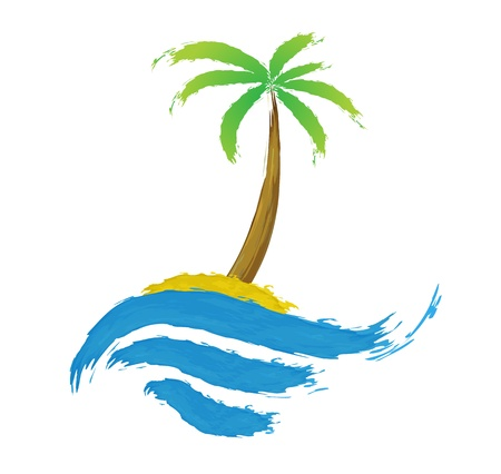 Tropical palm on island with sea Stock Vector - 16213791