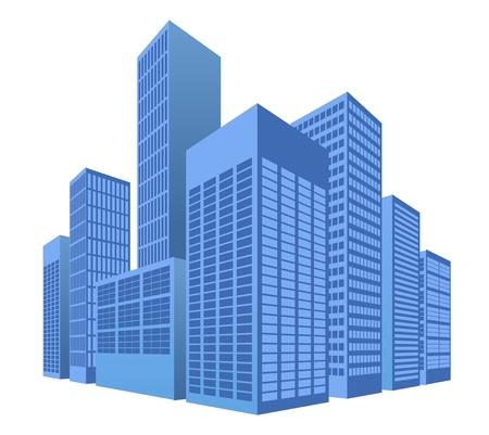 office buildings: urban scene, city illustration