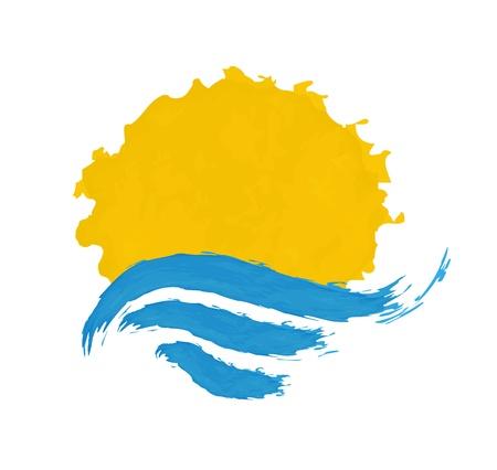 sole e il mare, illustrazione, icona