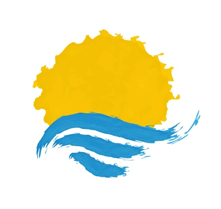 sun and the sea icon illustration  Vector