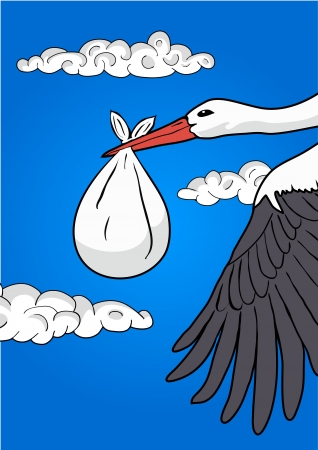 Flying stork with baby Stock Vector - 16213798