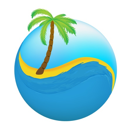 Tropical palm on island with sea  Stock Illustratie