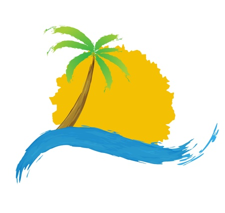 Tropical palm on island with sea  Иллюстрация