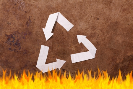 parer: Old parer background with recycle sign Stock Photo