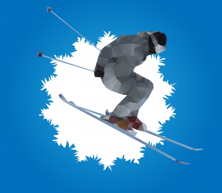 mountain skier: flying skier and snowflake Illustration