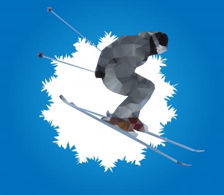 sciatore volare e fiocco di neve Vettoriali