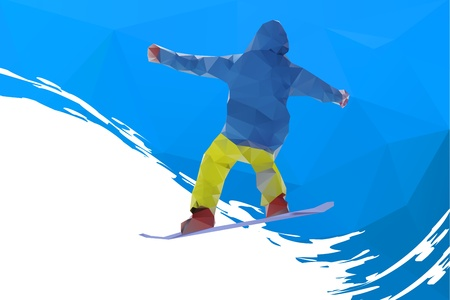 flying snowboarder on mountains Vector