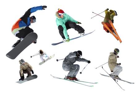 esqu� y snowboard, jinetes aislado Foto de archivo