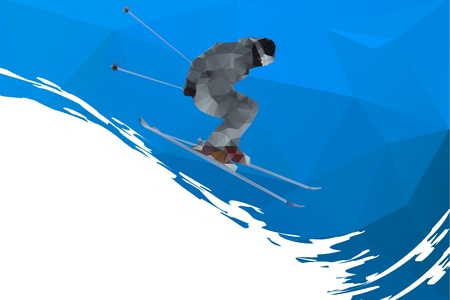 mountain skier: flying skier on mountains, vector