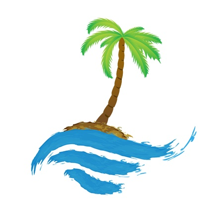 Tropical palm on island with sea  Stock Vector - 16392794