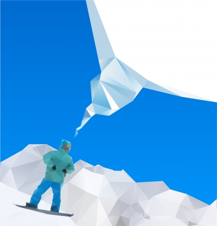 snowboarder on mountains, vector Stock Vector - 16392809