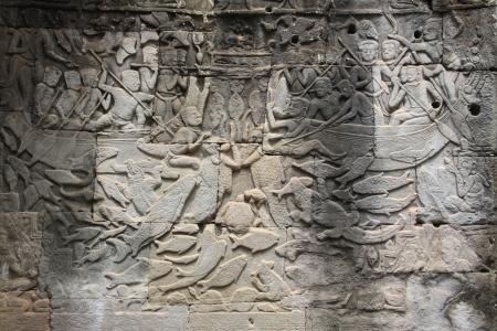 detail of stone carvings in angkor wat, Cambodia, Siem Reap photo