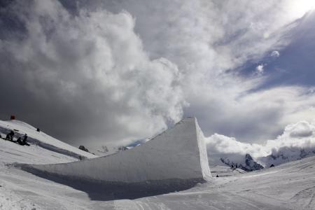 Snowboard park, Big air, ski resort Dombay Stock Photo - 18453287